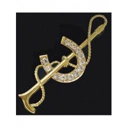 Stock Pin Crystal Horse Shoe & Whip
