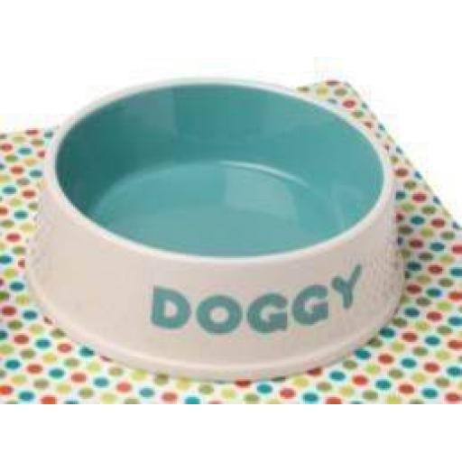 Petface Doggy Ceramic Dog Bowl Cream/Aqua